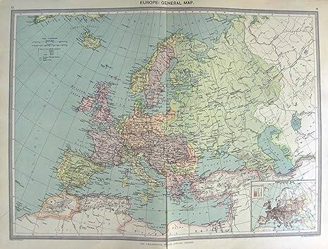 POBLACIÓN 1906 DE EUROPA DEL MAPA DE HARMSWORTH FRANCIA ESPAÑA: Amazon.es: Hogar