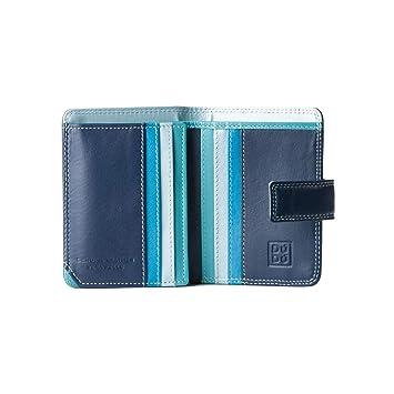 c3372276ad7201 Kleine Damen Geldbörse in farbigem Leder und Kartensteckfächer von DuDu Blau