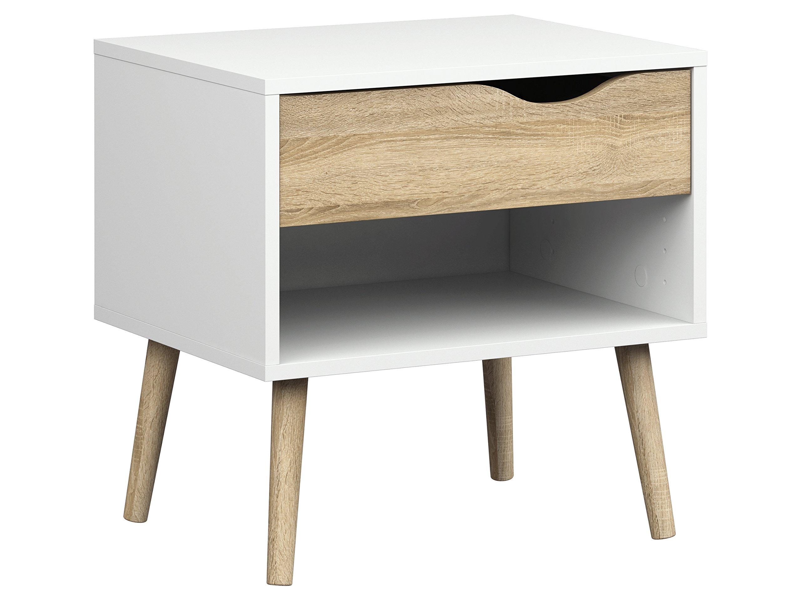 Tvilum 7539449ak Diana 1 Drawer Nightstand, White/Oak Structure by Tvilum
