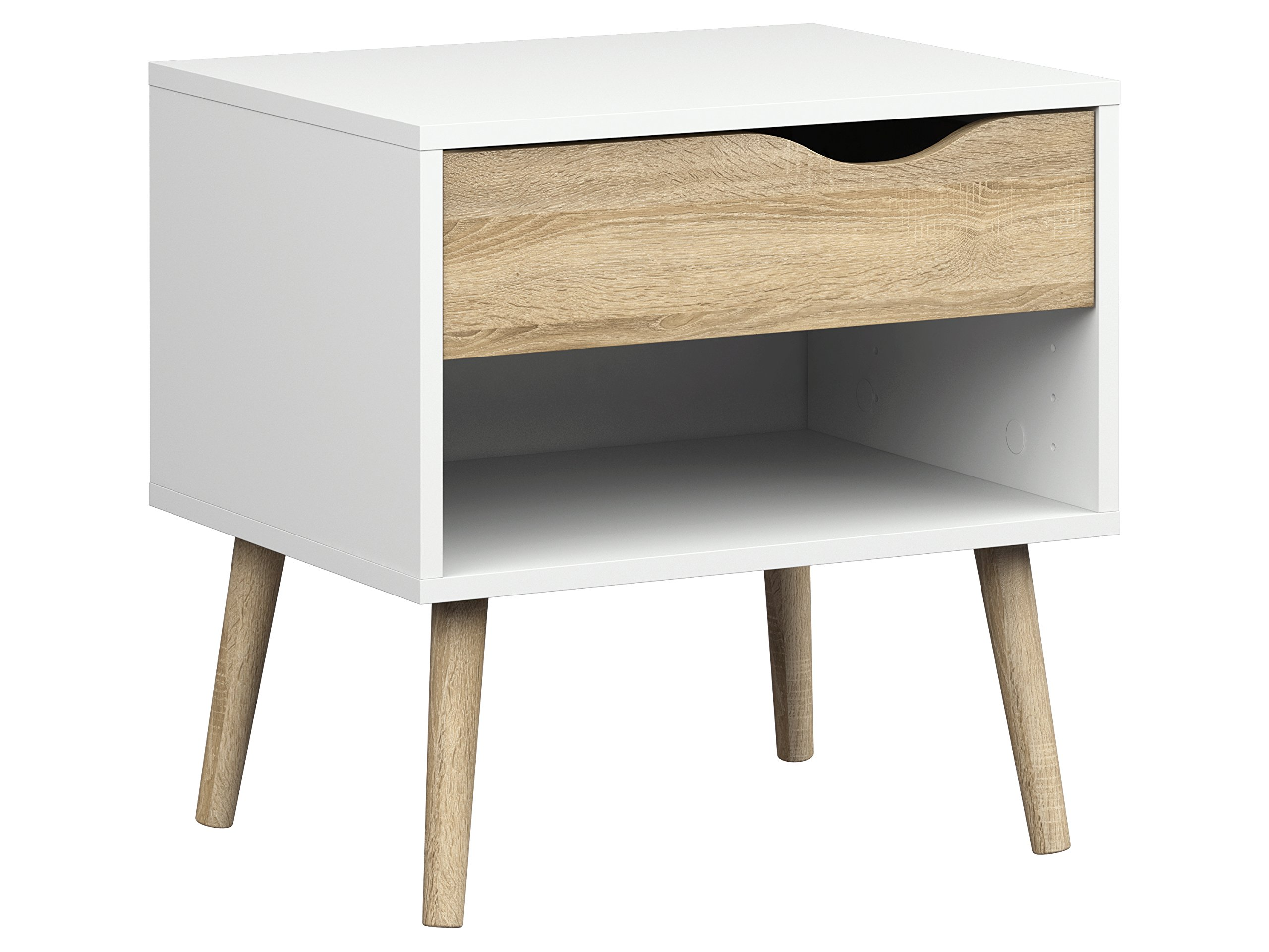Tvilum 7539449ak Diana 1 Drawer Nightstand, White/Oak Structure