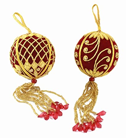 christmas ornaments ball red handcrafted gold lace beads