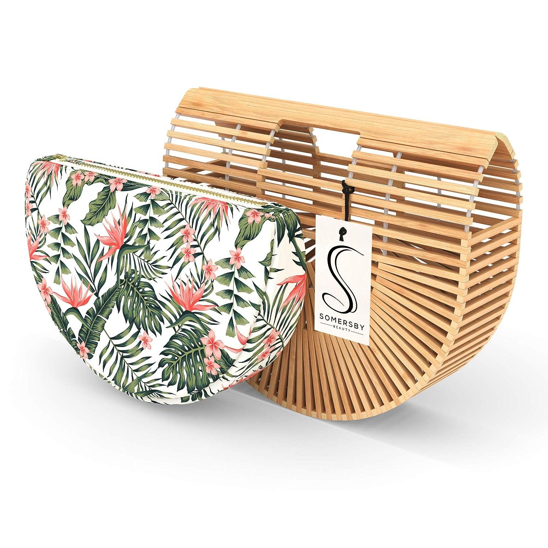 Womens Basket Bag with Purse Insert Handmade Summer Tote Bamboo Handbag