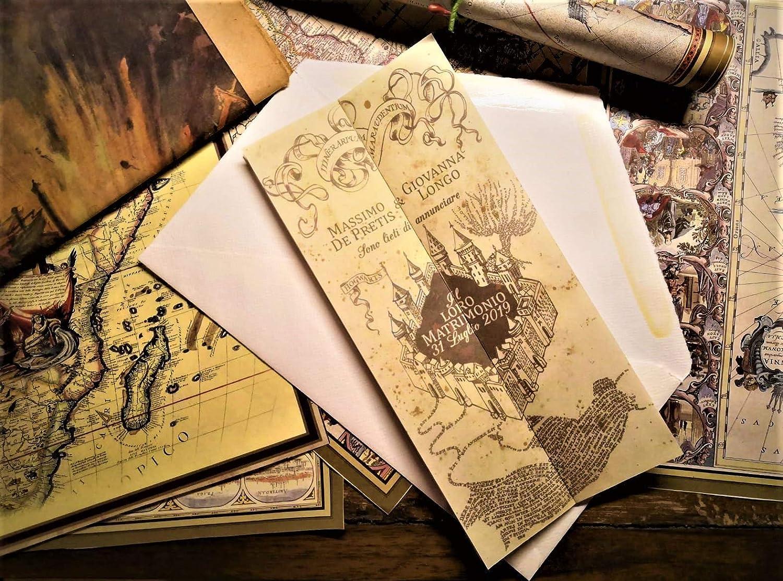 Partecipazioni Matrimonio Klimt.Partecipazioni Matrimonio Harry Potter Mappa Del Malandrino