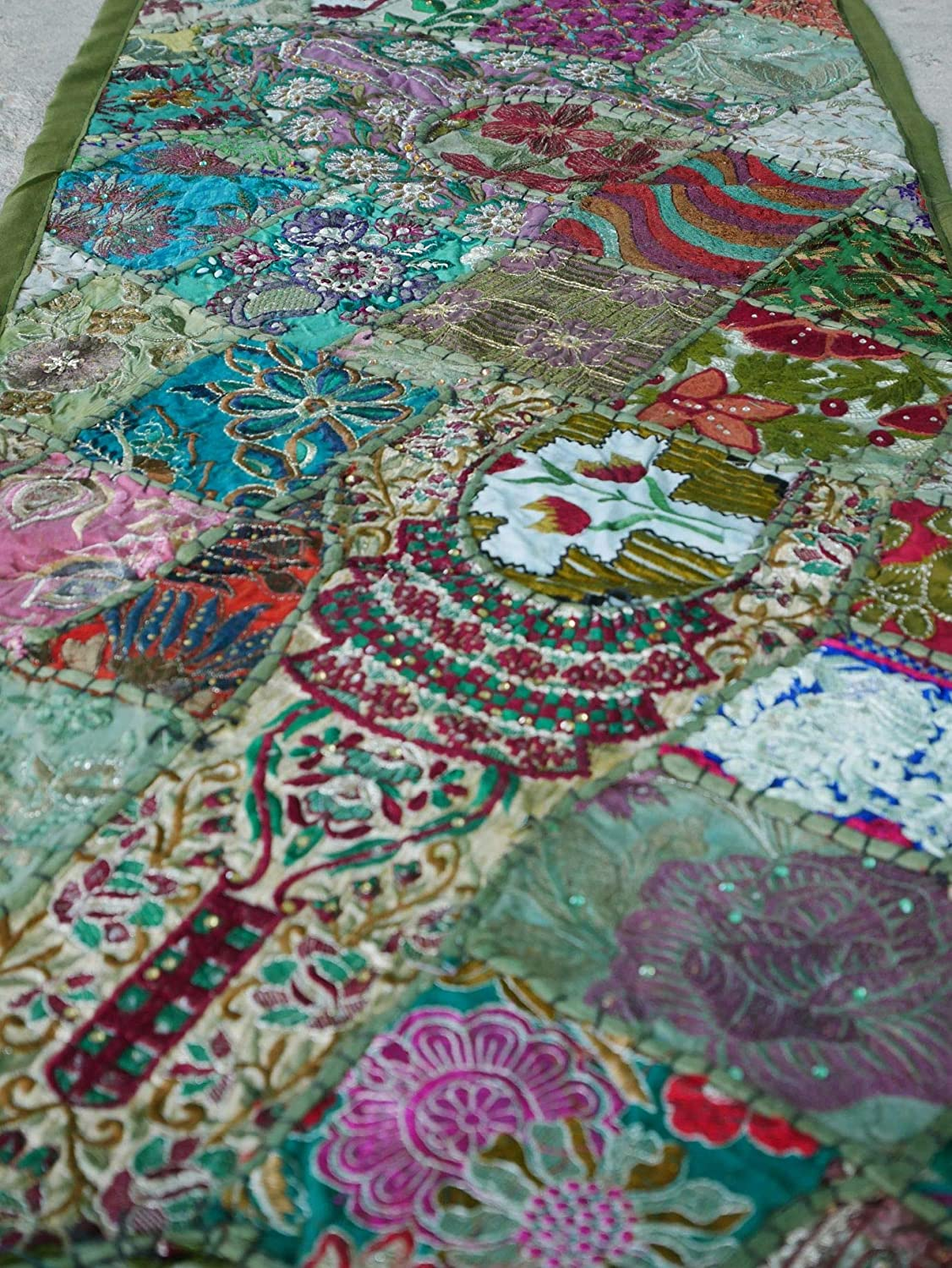 Shanti Gypsy - Wall tapestry, Boho wall hanging, table runner made of vintage sarees for hippie wall decor, bohemian decor