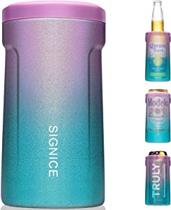 3-IN-1 Insulated Can Cooler - [2021 NEWEST] Signice Double Walled Vacuum Insulator Stainless Steel Slim Can Cooler for 12 Oz Skinny Tall Can/Standard Can/Beer Bottle