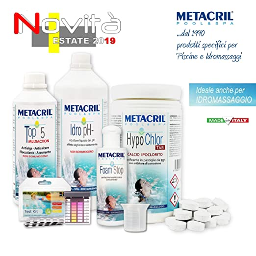 Metacril Easy Kit Hypo Chlor para hidromasajes y Piscinas ...