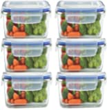 Weltime Airtight Food Storage Containers Plastic Kitchen Storage Jars and Container Set, Kitchen Storage Container, Jar Set for Kitchen, Kitchen Storage Jars, Fridge Storage Containers 6pc (400ML)
