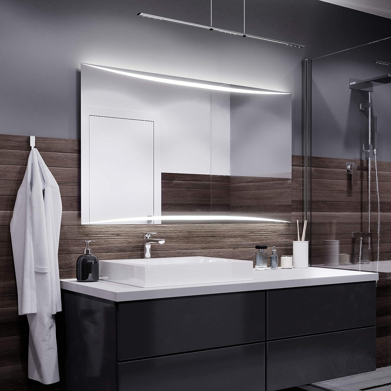 Alasta Spiegel Madrit Badspiegel mit LED Beleuchtung   Wandspiegel Badezimmerspiegel   Spiegel nach Maß (Weiß kalt, Breite 80cm X Höhe 60cm)