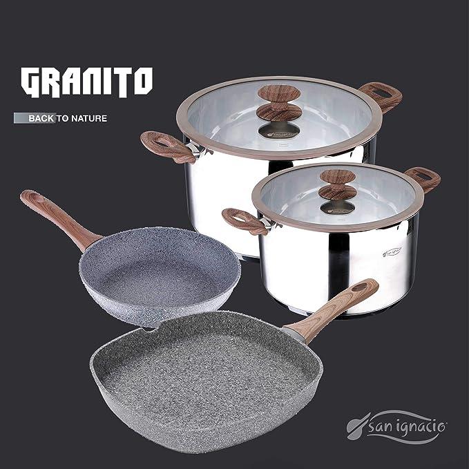 San Ignacio Set de 3 sartenes Granito + 4 recipientes herméticos, fiambreras