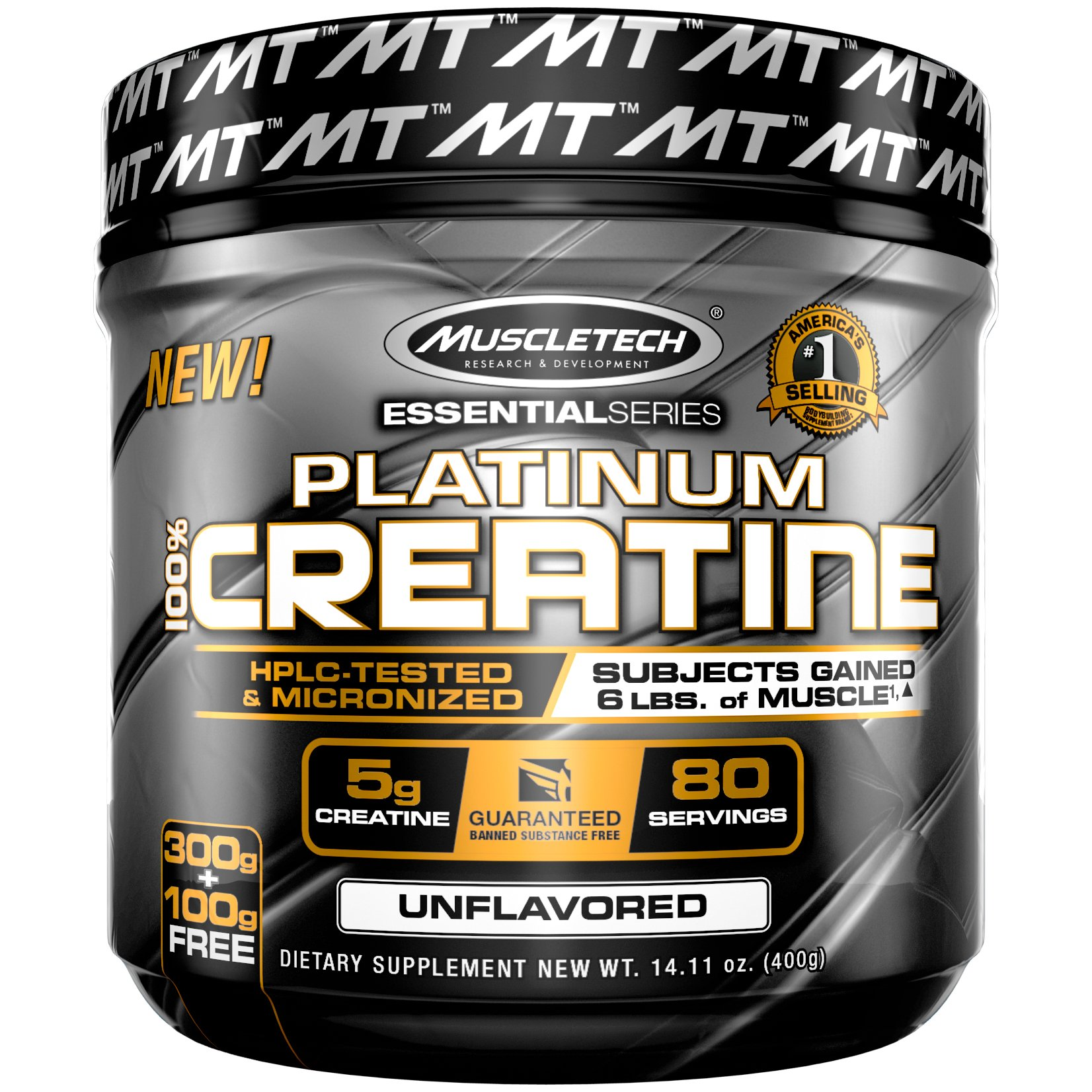 MuscleTech Platinum 100% Creatine, Ultra-Pure Micronized Creatine Powder, Unflavored, 14.11 Oz (400 Grams)
