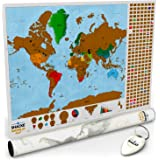 Scratch Off World Travel Poster Map. Scratch Off Your Travels and Country Flags - Includes Keychain Scratcher