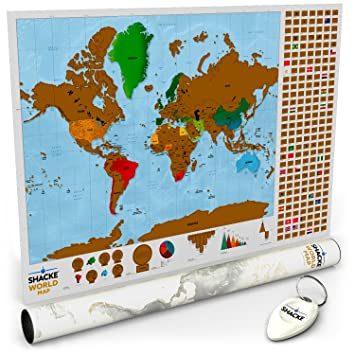 Amazoncom  Shacke Scratch Off World Map with Country Flag