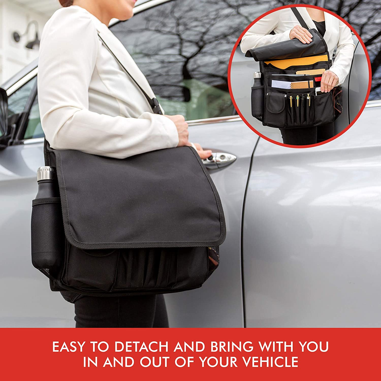 Mobile//Car Office Organizer Lusso Gear Car Front Seat Organizer Fits Any Car//Truck Also for Law Enforcement//Police//Patrol Bag Storage for Laptop//iPad//Office Supplies /& More Strong /& Durable