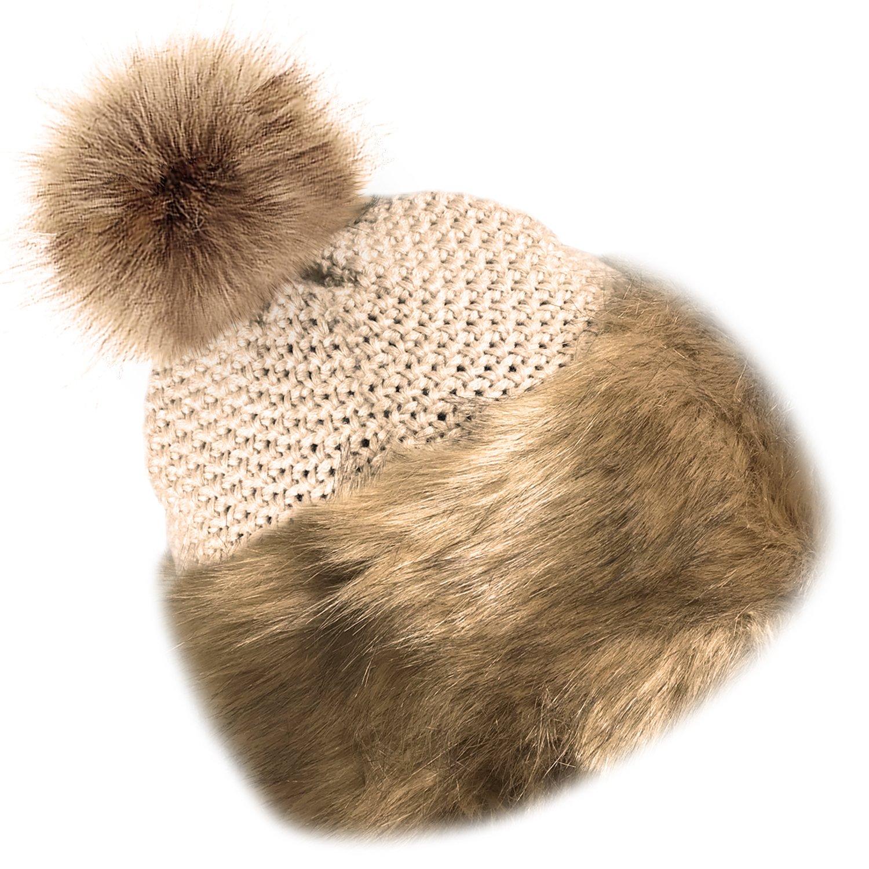 TOSKATOK/® Trim en Fausse Fourrure Bonnet Tricot/é Pom Pom Beanie avec Doublure Polaire Douce et Confortable
