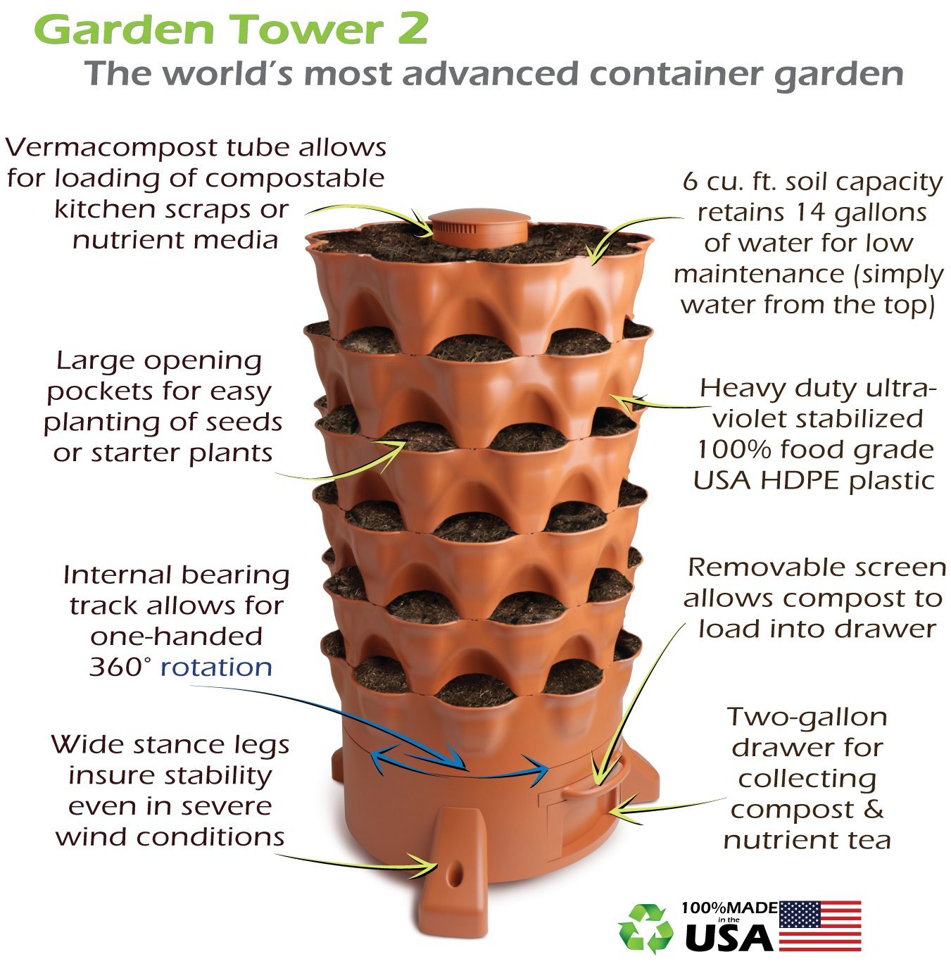 amazon com garden tower 2 the composting 50 plant organic