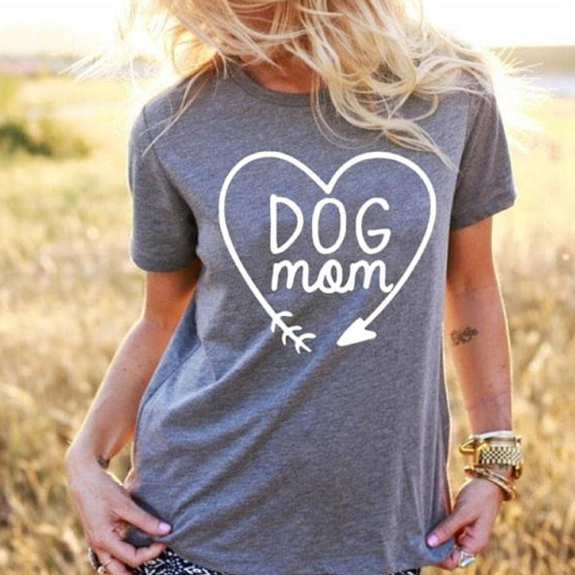 Dog Shirt Women Mom Dog Tee Clothes Rescue Animal Pet Lover Owner Gift for Girls Grey S by CTM Design (Image #1)