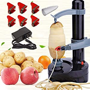 CHAOMIC Electric Potato Peeler Multifunction Apple Peeler Rapid Rotating Peeling Machine Automatic Rotating,Kitchen Peeling Tool with 1 Charger and 5 Replacement Blades