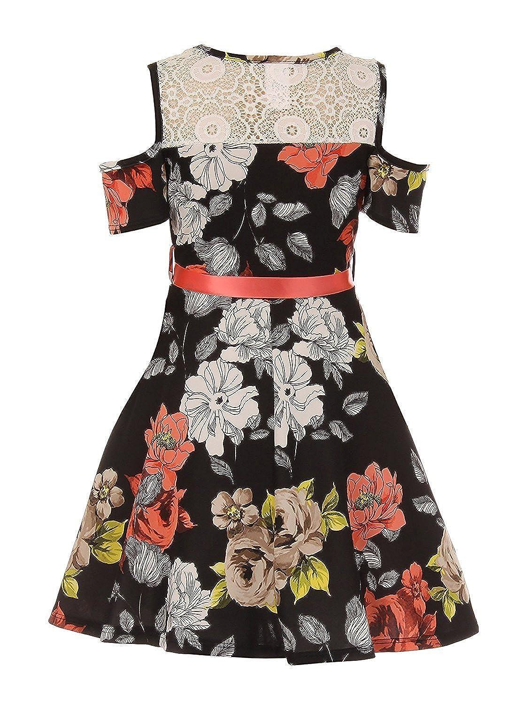 1abdb25ebd0 Amazon.com  iGirldress Girls Off Shoulder Crop Ruffle Layered Top and Skirt  Set Outfit USA 4-14  Clothing