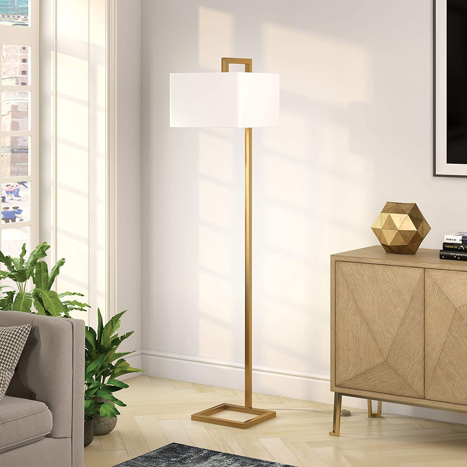 Henn&Hart FL0330 Modern Angular Lines in A Brass Finish, with White Linen Square Shade, for Living Room, Bedroom, Office Contemporary Minimalist Floor Lamp, Gold