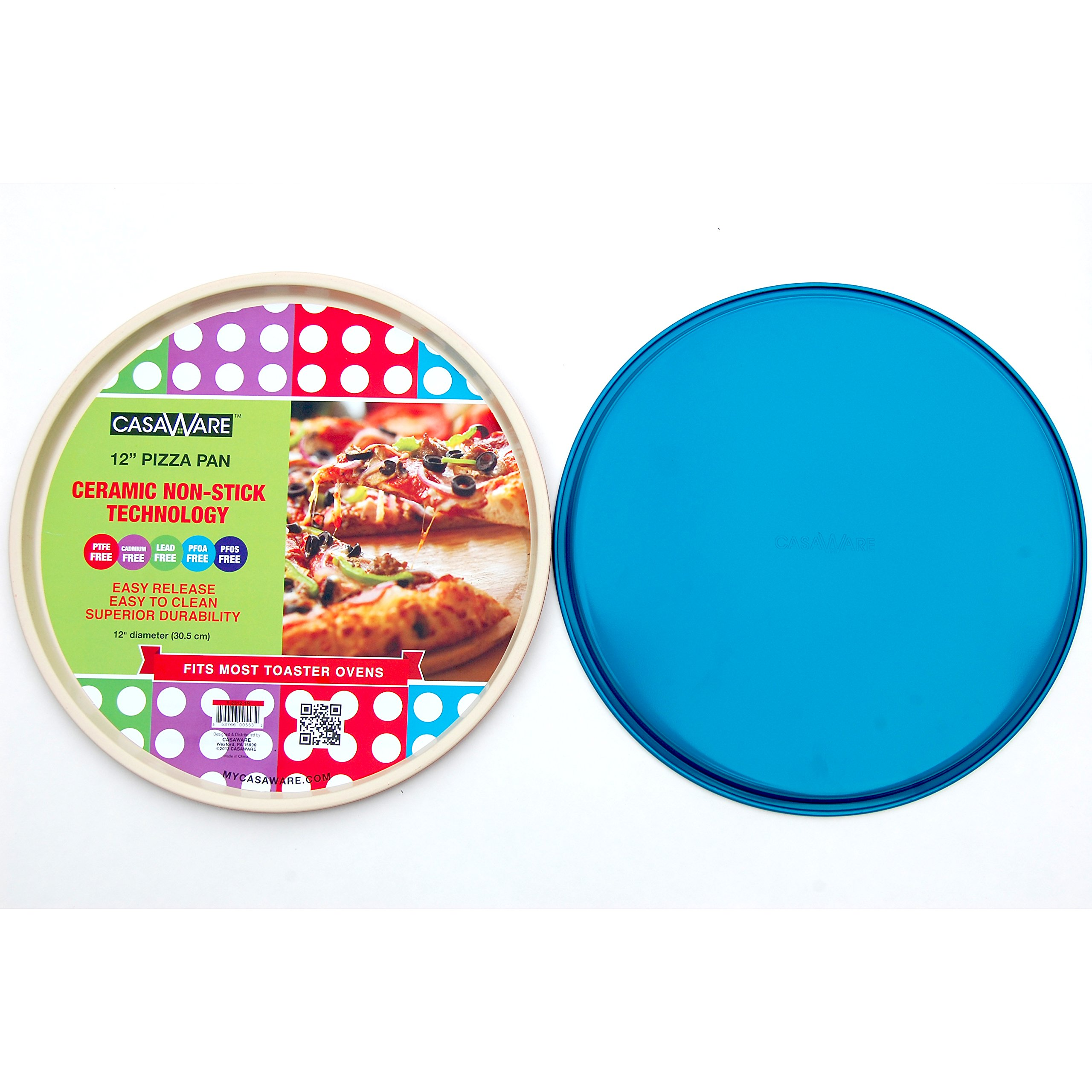 casaWare Ceramic Coated Non-Stick 12-Inch Pizza Pan (Cream/Blue)