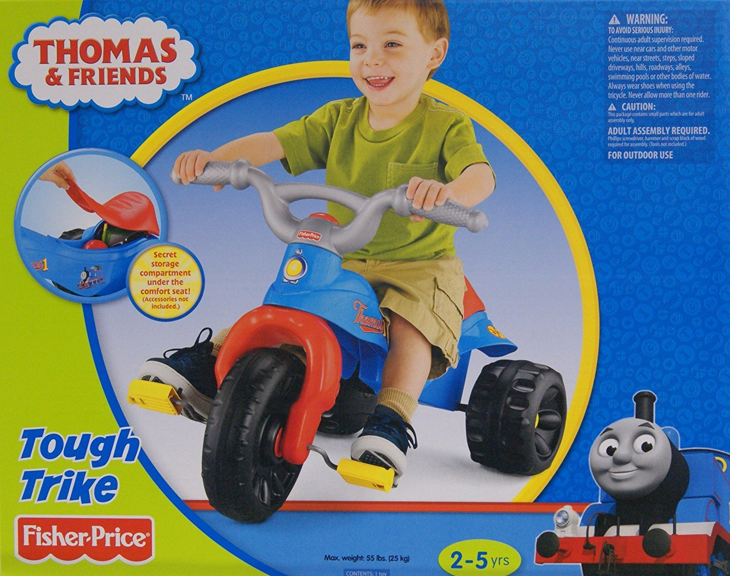 Fisher Price Kids Thomas The Tank Engine Tough Trike Pedal and Push Toddler Tricycle for Boys with Wide Wheelbase by Fisher-Price