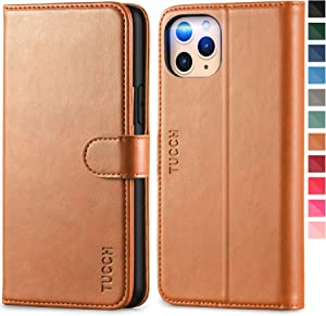 TUCCH iPhone 11 Pro Wallet Case, RFID Protection Card Holder Stand Magnetic PU Leather Folio Cover with [Auto Wake Sleep] [TPU Shockproof Inner Case] Compatible with iPhone 11 Pro 5.8, Light Brown