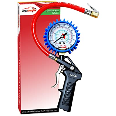 EPAUTO Heavy Duty Tire Inflator Gauge with Hose 220 PSI: Automotive