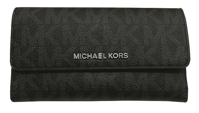 050736307d29 Image Unavailable. Image not available for. Color: Michael Kors Jet Set  Travel Large Trifold PVC Wallet Black