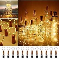 Luz de Botella, paquete de 12 luces de botella de alambre de cobre LED de 2 m 20, cadena de luces con pilas para…