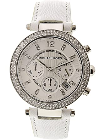 Amazon.com  Michael Kors Women s Chronograph Parker White Leather Strap  Watch 39mm Mk2277  MICHAEL KORS  Watches ebaf88e128