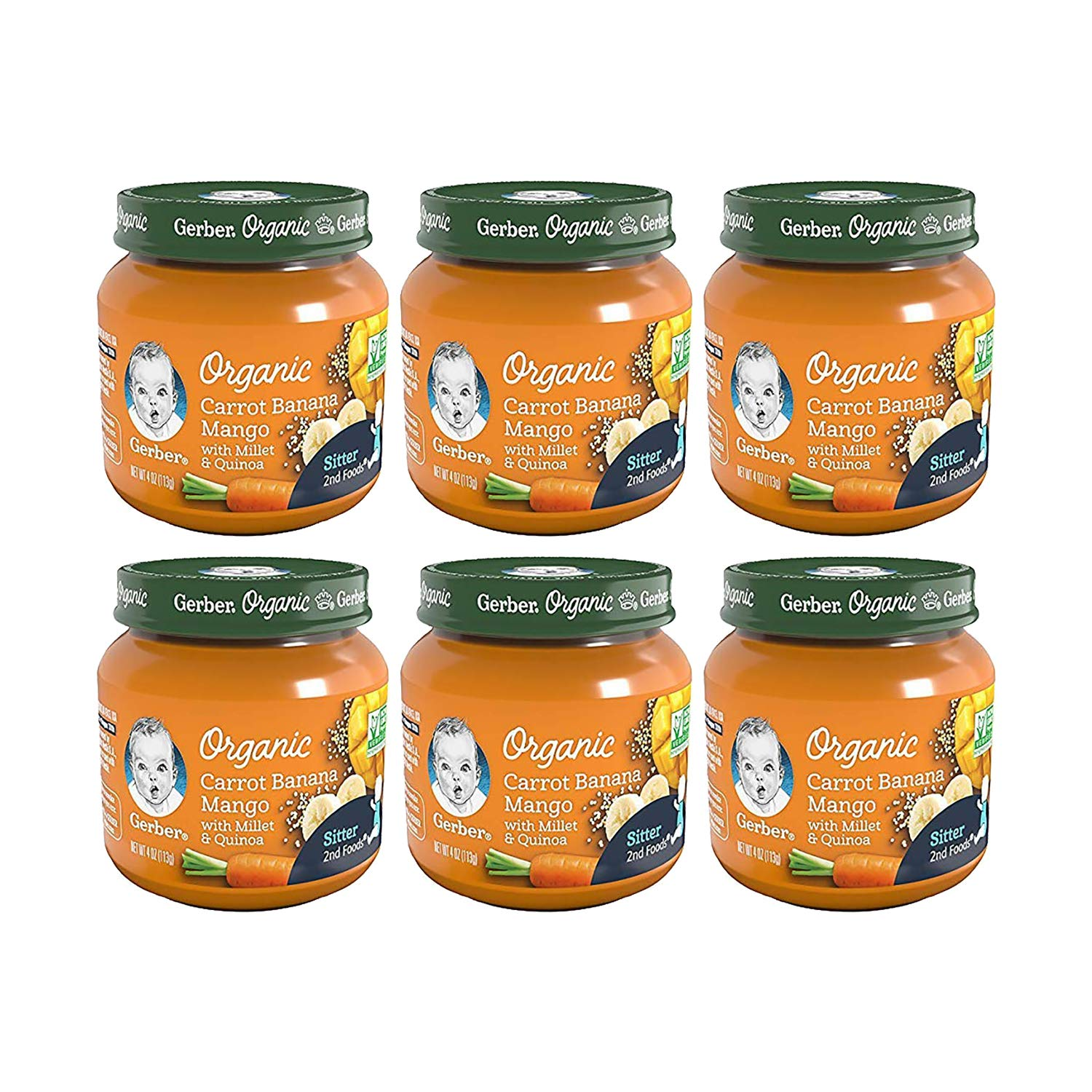 Gerber Purees 2nd Foods Organic Carrot Banana Mango with Millet & Quinoa, 4 Oz (Pack Of 6)