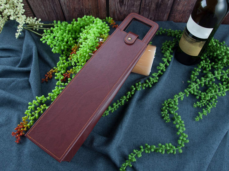 fiesta 2 Bottle Handbag marr/ón MengHao GENNISSY negocios port/átil ideal para picnic Bolsa de piel para vino cocina 2 botellas