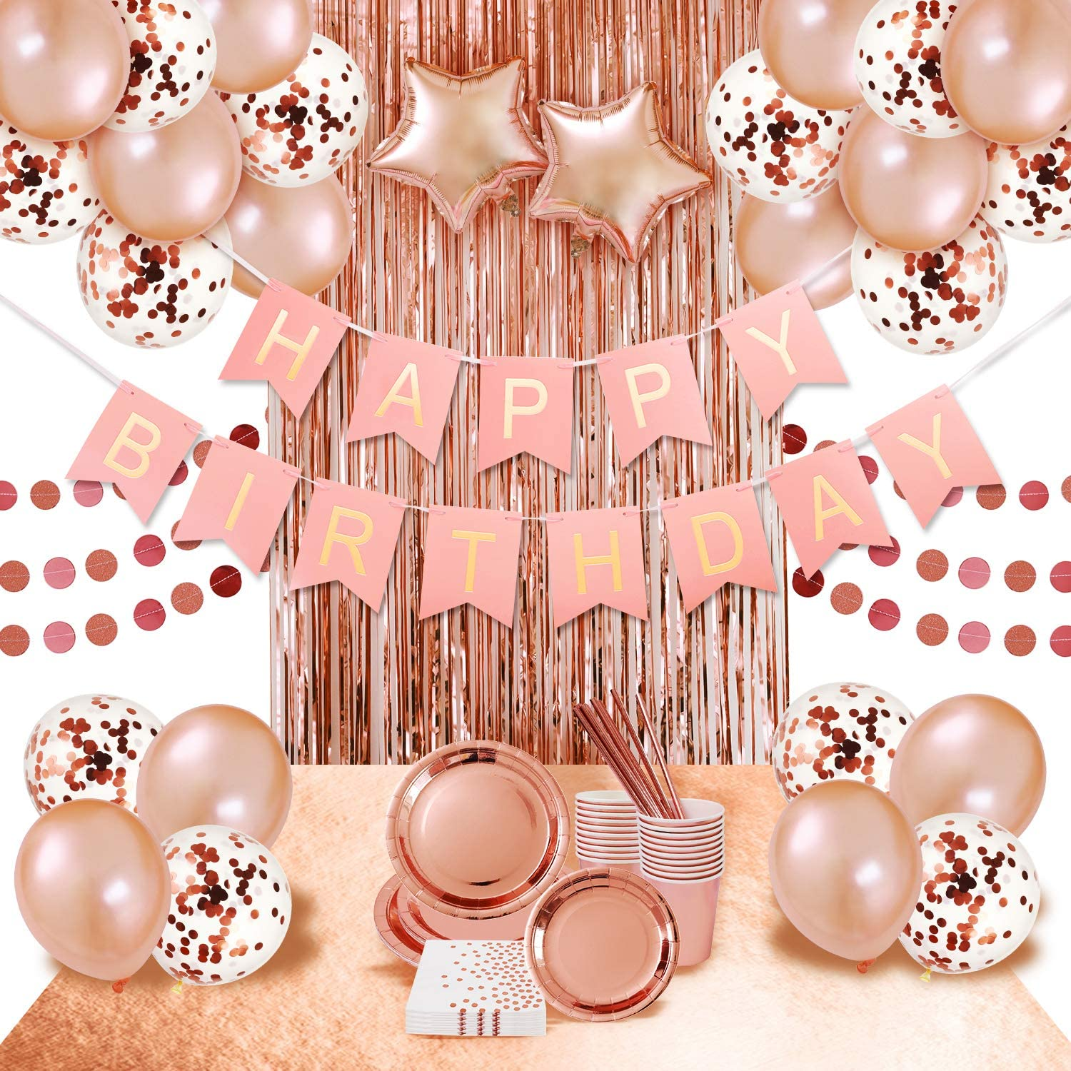 Rose Gold Birthday Party Supplies Decorations Pink Gold Party Supplies  shiny rose gold plates and napkins cups straws balloon rose gold sequin  table
