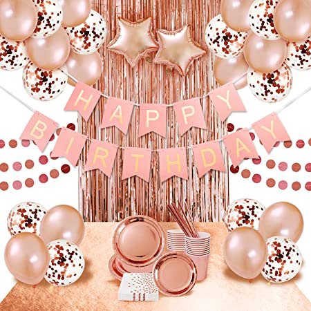 Zica Rose Gold Party Supplies Party Decorations Rose Gold Plates And Napkins Cups Straws Balloon Table Runner Happy Birthday Banner Birthday Decorations Amazon Co Uk Kitchen Home