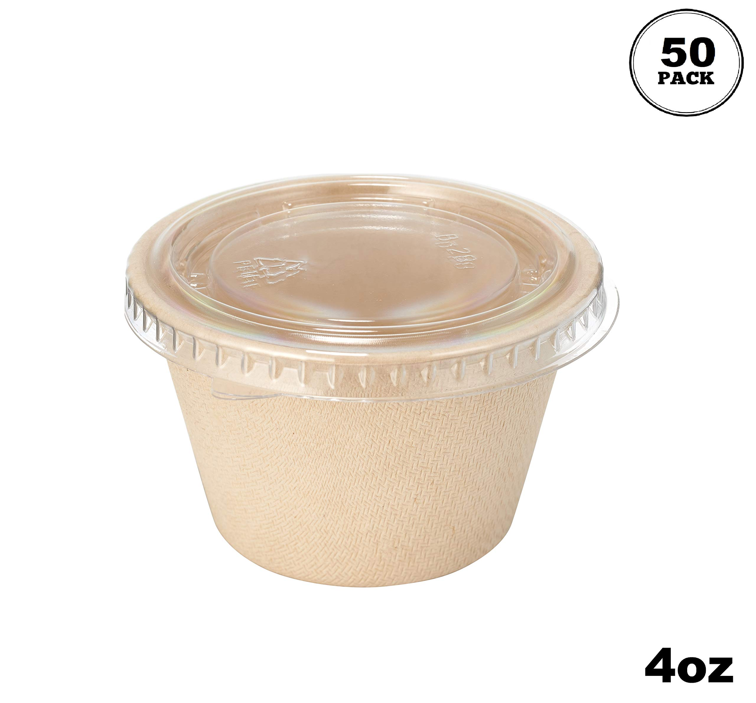 [50 Pack] 4 Oz Compostable Condiment Souffle Bagasse Cups with Lids - Portion Cup with Lid Sugarcane, Biodegradable Perfect for Sauces, Samples, Condiments, Slime, Jello Shot, Food Storage by EcoQuality