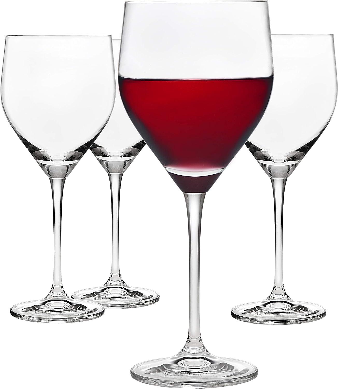 Godinger Wine Glasses Goblets, Stemmed Wine Glass Beverage Cups, European Made - 16oz, Set of 4