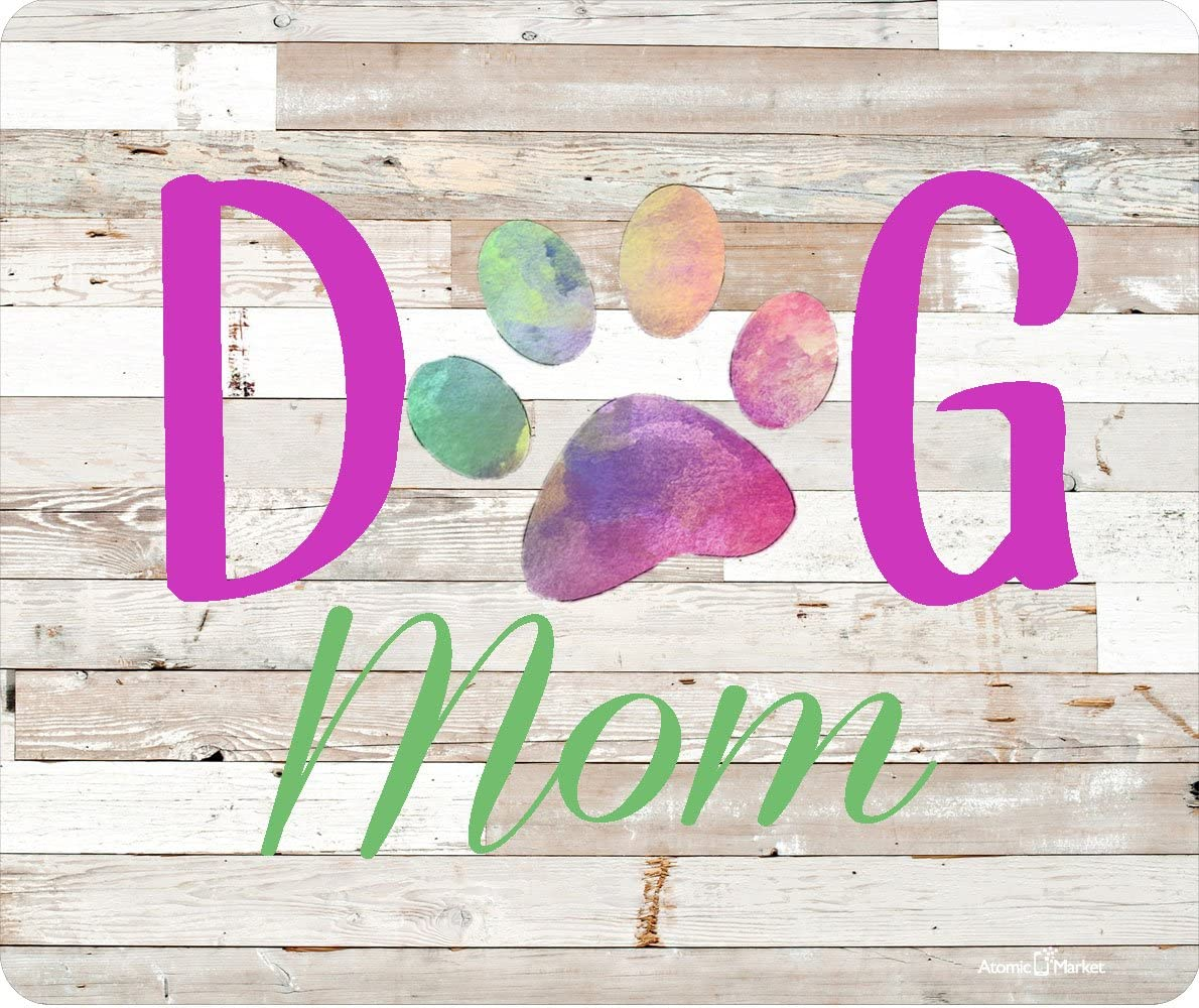 Dog Mom Bright Colors Thick Mouse Pad by Atomic Market