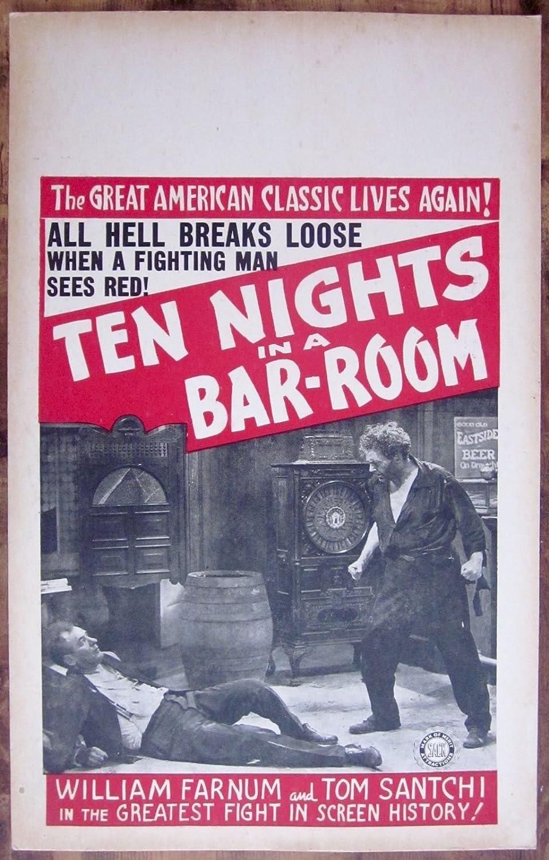 TEN NIGHTS IN A BAR-ROOM -ORIGINAL 1931 WINDOW CARD POSTER- WILLIAM FARNUM FIGHT