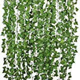 84 Ft-12 Pack Artificial Ivy Leaf Garland Plants Vine Hanging Wedding Garland Fake Foliage Flowers Home Kitchen Garden…