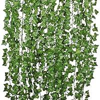 84 Ft-12 Pack Artificial Ivy Leaf Garland Plants Vine Hanging Wedding Garland Fake Foliage Flowers Home Kitchen Garden…