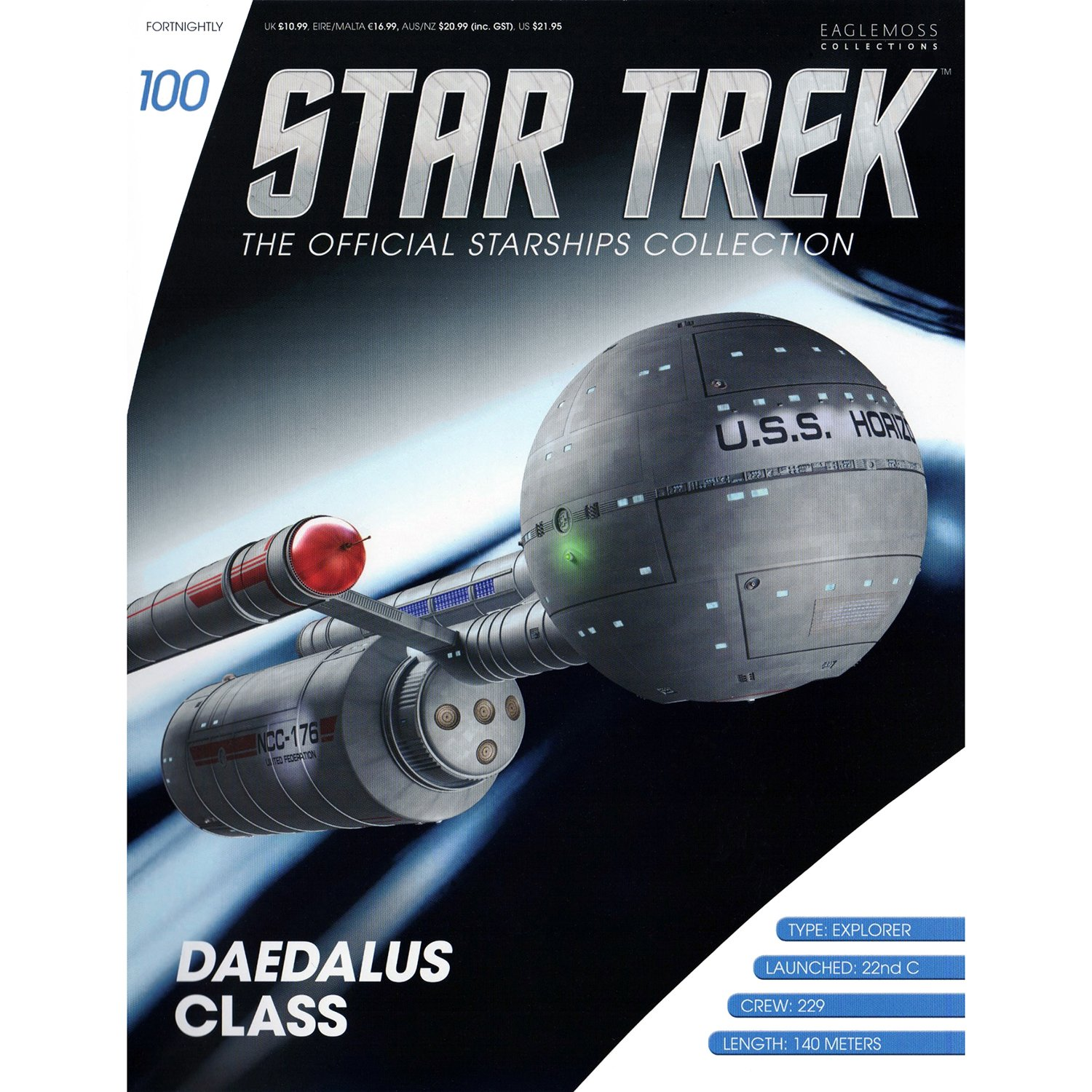 Star Trek Daedalus Class (USS Horizon) Model with Magazine #100 by Eaglemoss