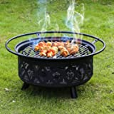 Kinbor 30-Inch Portable Folding Wood Burning Openwork Backyard Patio Garden Fire Pit with Cooking Grill, Spark Screen and Free Waterproof PVC Cover