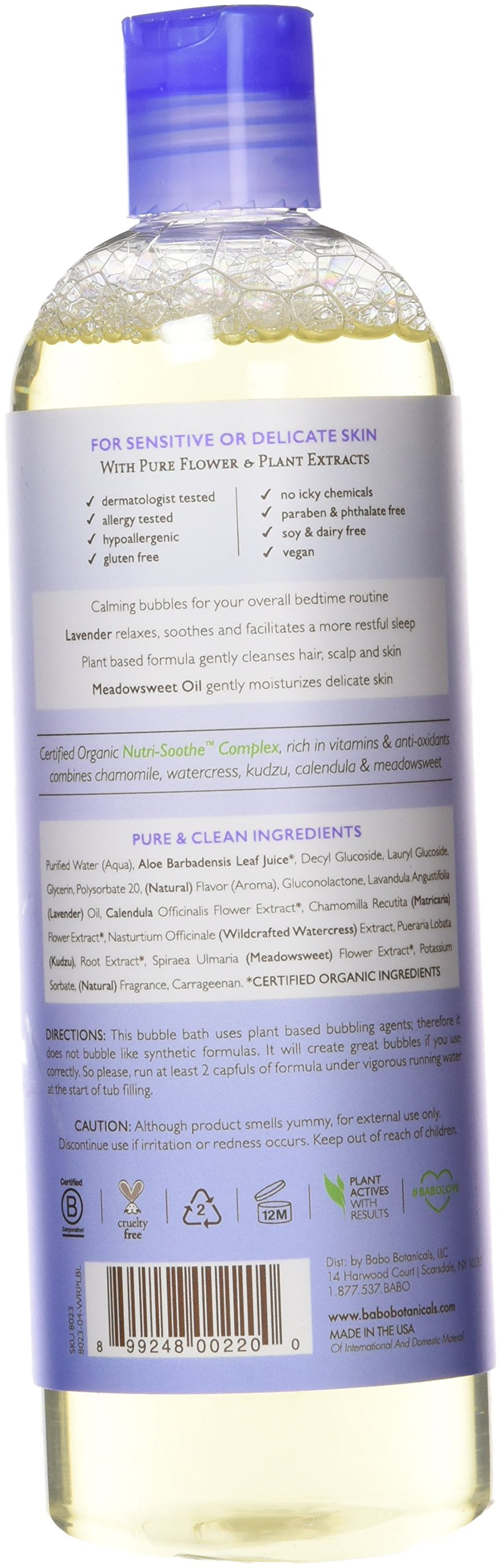 Babo Botanicals Lavender Meadowsweet Calming Baby Bubble Bath & Wash, 15 ounces by Babo Botanicals (Image #2)