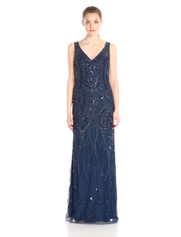 Amazon.com: Adrianna Papell Women\'s V Neck Fully Beaded Gown, Deep ...