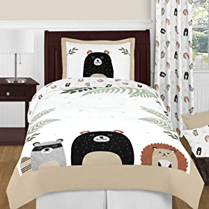 Sweet Jojo Designs Bear Raccoon Hedgehog Forest Animal Woodland Pals Unisex Boy or Girl Twin Size Kid Childrens Bedding Comforter Set - 4 Pieces - Neutral Beige, Green, Black and Grey