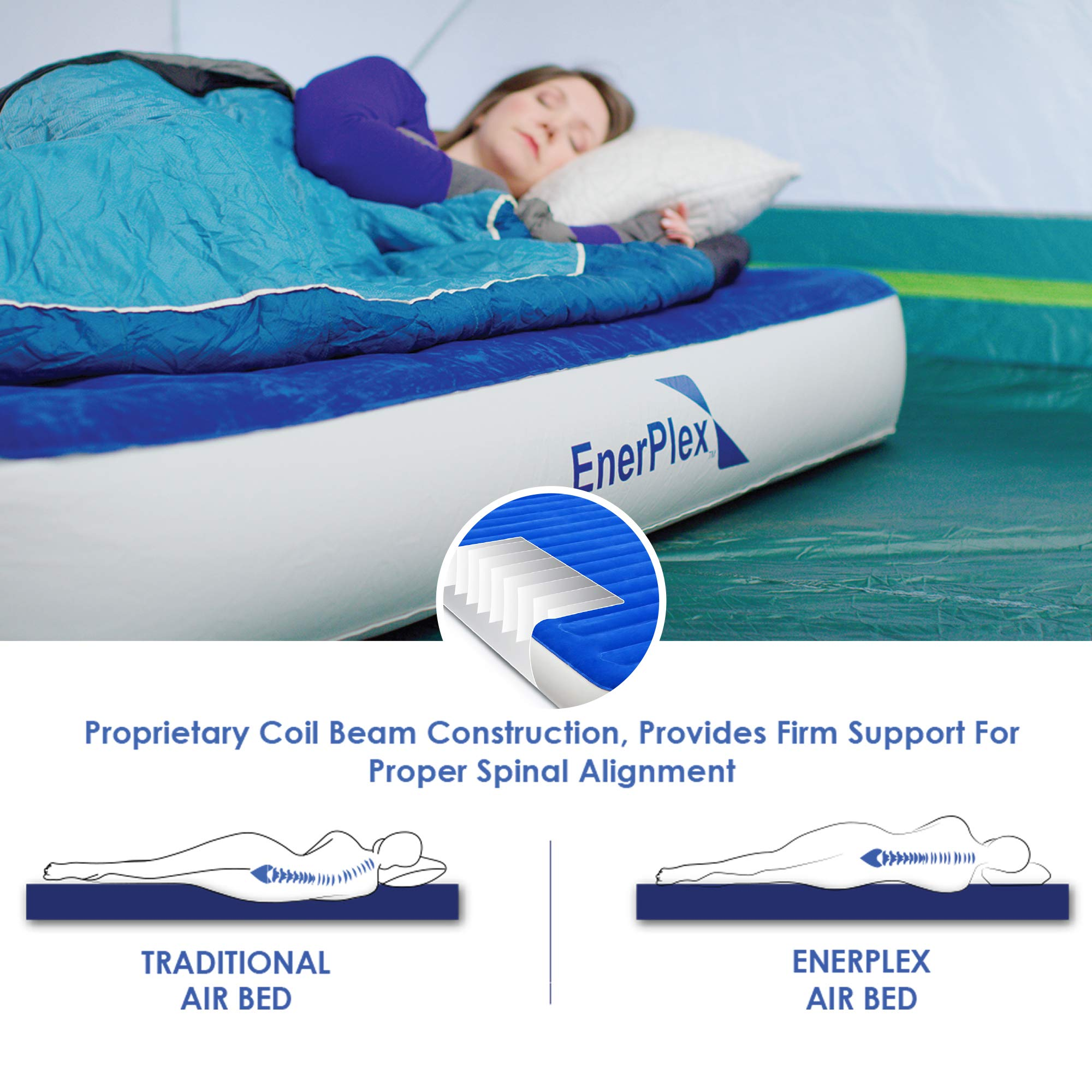 EnerPlex 2019 Camping Luxury Queen Size Air Mattress Camping Queen Airbed with High Speed Wireless Pump Single High Inflatable Blow Up Bed for Home Camping Travel 2-Year Warranty by EnerPlex (Image #4)