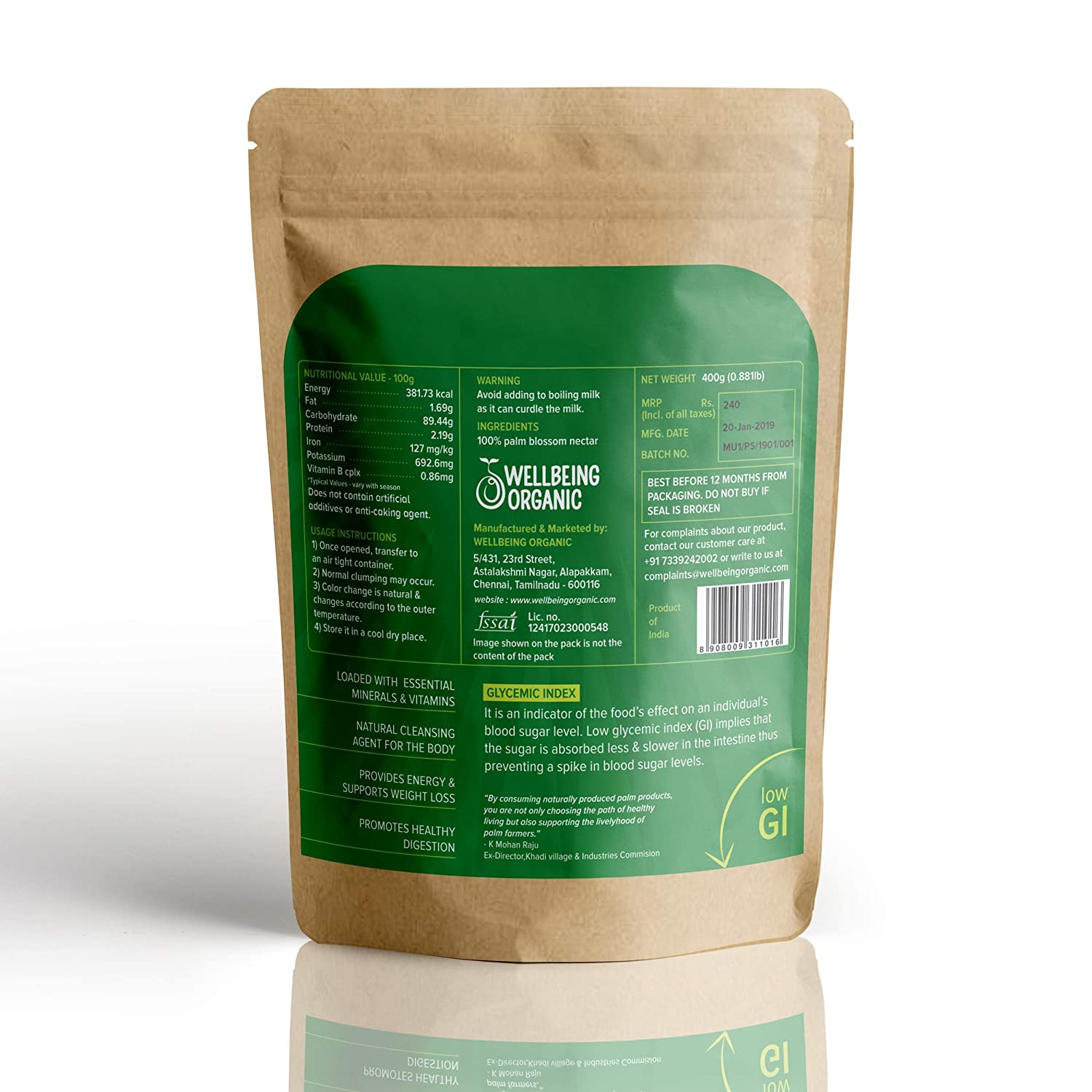 Wellbeing Organic Palm Culture's Jaggery, Crystallised (400 g)