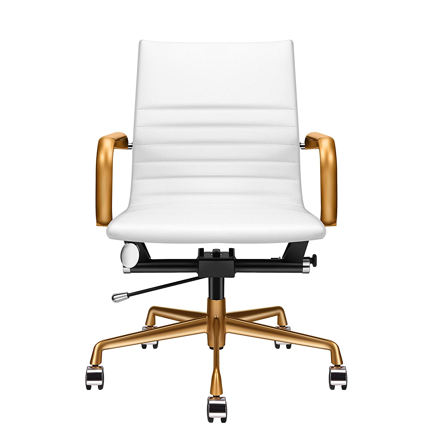 Amazoncom Luxmod White And Gold Desk Chair Home Office Chair
