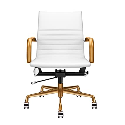 Charmant LUXMOD White And Gold Desk Chair, Home Office Chair With Arms, Mid Back  Adjustable
