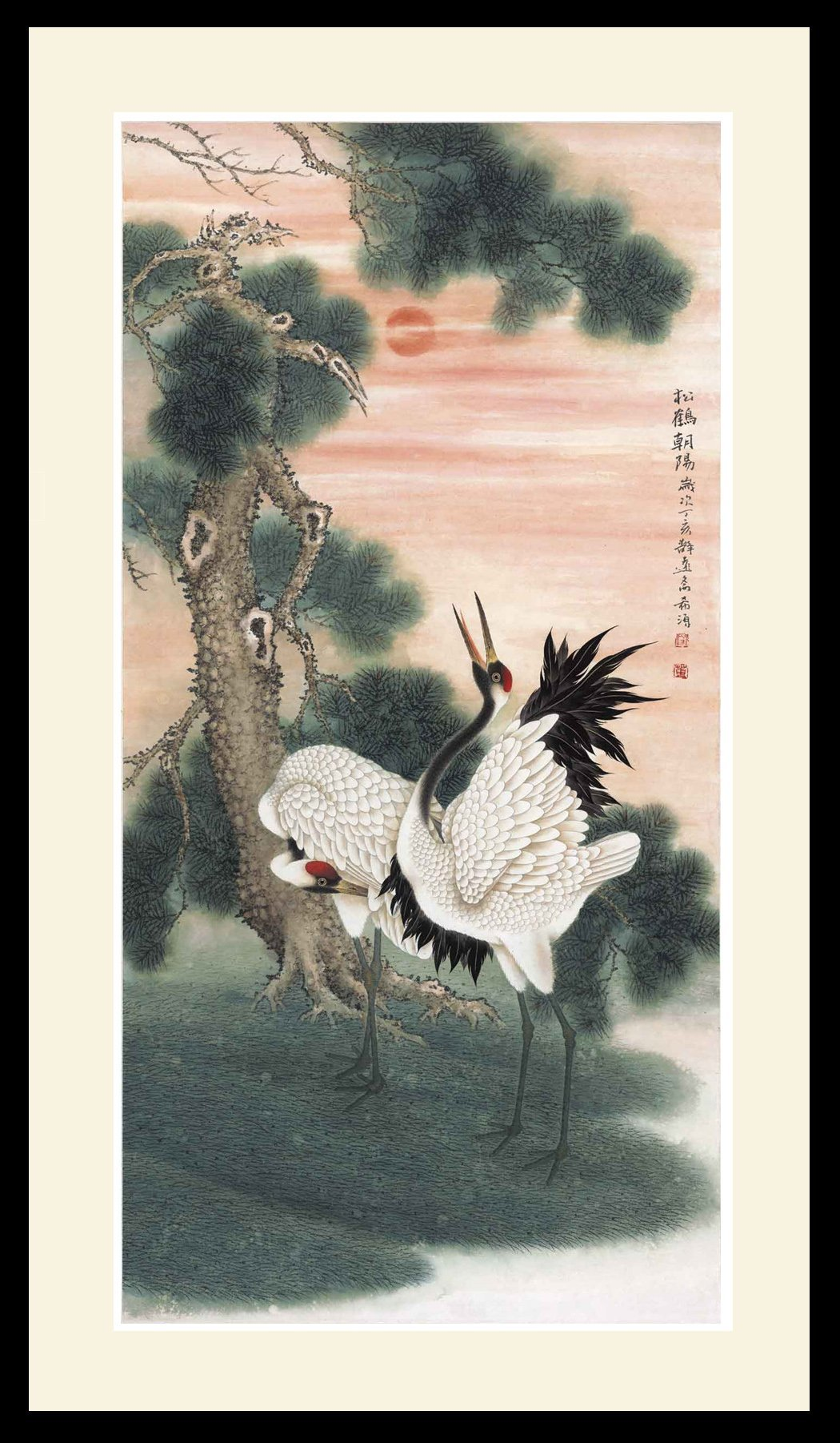 INK WASH Large Framed Chinese Cranes and Pine Tree Feng Shui Painting Gifts Paintings for Bedroom Wall for Wealth and Health 30''x60''